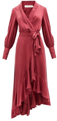 Zimmermann Gathered-cuff Silk-satin Midi Wrap Dress - Burgundy