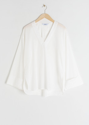 And other stories V-Neck Cotton Shirt