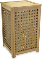 Household Essentials Oak Lattice Hamper with Barnwood Finish