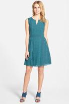 Halogen Pleated Fit & Flare Dress (Petite)