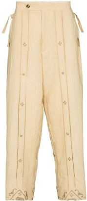 Bode Embroidered-Detail Wide-Leg Trousers