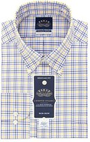Eagle Men's Non Iron Stretch Collar Regular Fit Check Buttondown Collar Dress Shirt