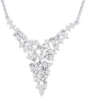 "Wrapped in Love Diamond V Collar Necklace (1 ct. t.w.) in 14k White Gold, 17"" + 2"" extender, Created for Macy's"