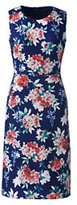 Lands' End Women's Petite Sleeveless Ponte Sheath Dress-Sail Blue Floral