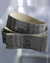 Croco-Embossed Bow Belt