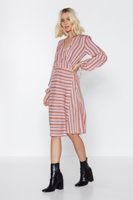 Nasty Gal Womens Your Guess Is As Good As Line Striped Dress - Beige - 8