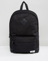 Asos Design DESIGN backpack in black canvas with faux leather base and branded patch