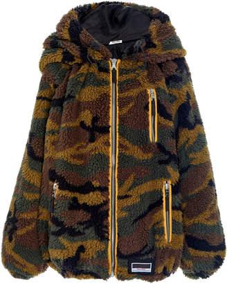 Miu Miu Hooded Camo Teddy Jacket