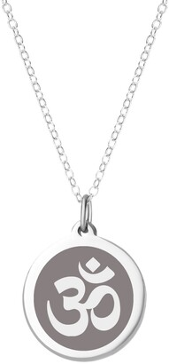"""Auburn Jewelry Om Pendant Necklace in Sterling Silver and Enamel, 16"""" + 2"""" Extender"""