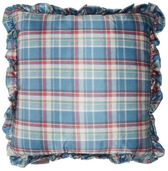Preen by Thornton Bregazzi Ruffled Tartan-satin And Velvet Cushion - Blue Print
