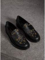 Burberry Eyelet Detail Leather Penny Loafers