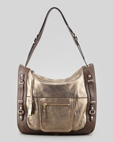 Kooba Rory Metallic Leather Hobo Bag, Pewter