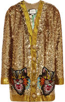 Gucci Reversible Appliquéd Sequined Satin Cardigan - Gold