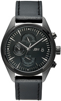 JBW Black Ion The Woodall Leather-Strap Watch - Men