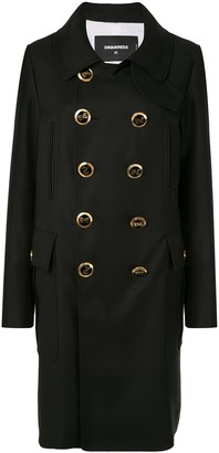 DSQUARED2 Logo Button Double Breasted Coat