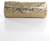 Elaine Turner Designs Beige Straw Gold Metallic Trim Small Clutch Handbag