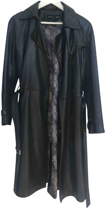 Kenneth Cole Black Leather Trench Coat for Women