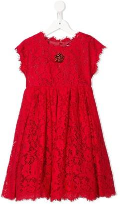 Dolce & Gabbana Kids Crystal-Flower Floral-Lace Dress