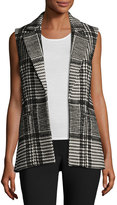 Theory Eldora Houndstooth-Patterned Vest, Ivory/Black