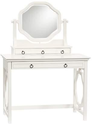 Pottery Barn Teen Elsie Classic Vanity Desk + Mirror Set, Simply White