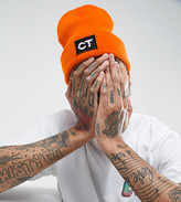 Crooked Tongues Beanie In Orange With Patch Logo