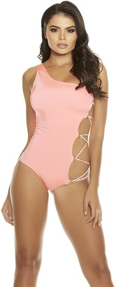 Forplay Women's Nevis One Shoulder Monokini with Cutout Side with Braided Lace up Strap Detail