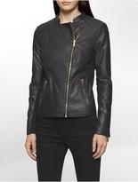 Calvin Klein Faux Leather Rib Knit Moto Jacket