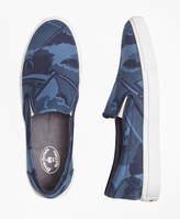 Brooks Brothers Camo-Print Canvas Slip-On Sneakers