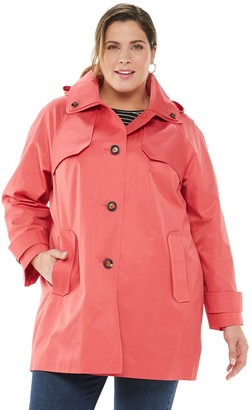 London Fog Plus Size TOWER by Hooded Raincoat