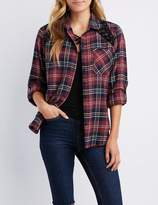Charlotte Russe Plaid Button-Up Lace-Up Detail Shirt