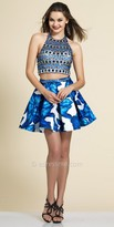 Dave and Johnny Shimmering Exotic Two Piece Halter Dress