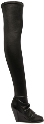 Rick Owens Thigh-High Fitted Boots