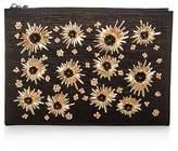 Max Mara Floral Embellished Raffia Large Zip Clutch