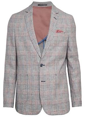 Nhp Jibe Standard-Fit Linen-Blend Plaid Sportcoat