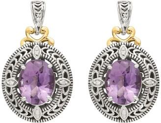 Sterling Silver & 14K Diamond & Oval Gemstone Earrings