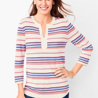 Talbots Linen-Blend Split-Neck Sweater - Stripe