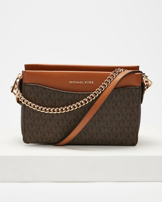 Michael Kors Women's Brown Cross-body bags - Jet Set Large Convertible Crossbody Clutch - Size One Size at The Iconic