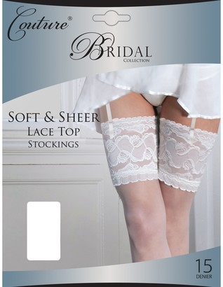 """Couture Womens/Ladies Bridal Soft & Sheer Lace Top Stockings (1 Pair) (Large (5ft6""""-5ft10"""")) (White)"""