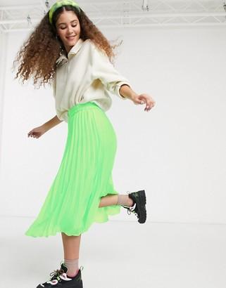 Monki high waist pleat midi skirt in neon green