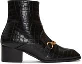Stella McCartney Black Croc-embossed Chain Boots
