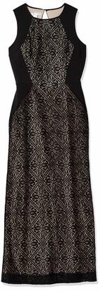 London Times Women's Petite Medeival Tile Lace Inset Gown