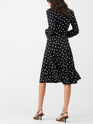 Wallis Polka Dot Wrap Dress - Black