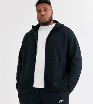 Nike Plus Tech Fleece zip-through hoodie in black