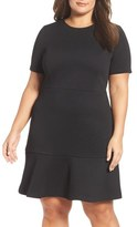 MICHAEL Michael Kors Textured Flounce Hem Dress (Plus Size)