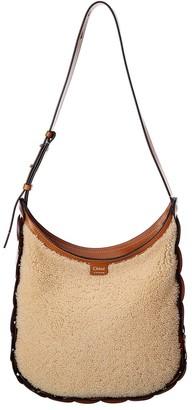 Chloé Darryl Medium Leather & Shearling Hobo Bag