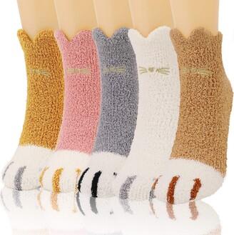 QKURT 5 Pair Cat Paw Fluffy Socks Fuzzy Cozy Winter Thick Warm Sleep Floor Slipper Socks Home Socks for Women Girls