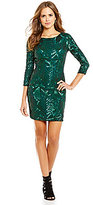 Gianni Bini Social Marla Boat Neck 3/4 Sleeve Sequin Dress
