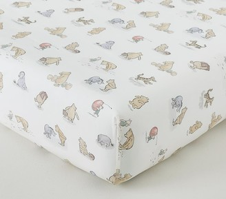 Pottery Barn Kids Organic Disney Winnie the Pooh Allover Icon Crib Fitted Sheet