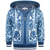 Dolce & Gabbana Dolce & GabbanaBaby Boys Blue Majolica Print Zip Up Top