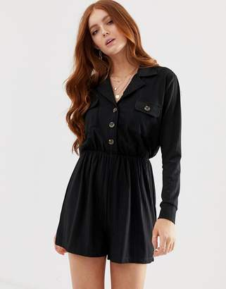 Asos Design DESIGN button detail shirt playsuit with long sleeve-Black